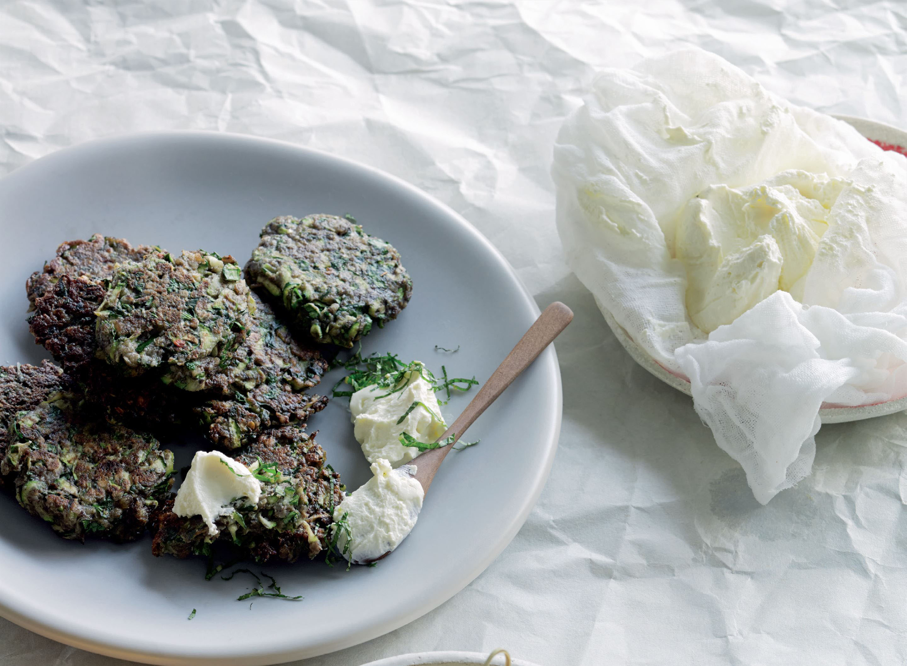 Quinoa and courgette fritters with strained yoghurt